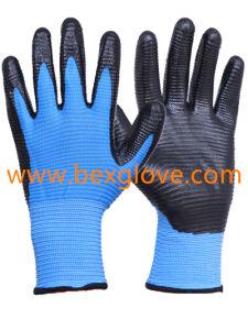 13 Gauge U3 Polyester Liner Nitrile Glove pictures & photos