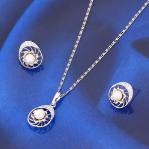 2016 Popular Rhodium Plated Bridal Jewelry Pearl Set (61398) pictures & photos