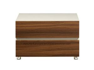 Modern Wooden Walnut & White Bedside Table (B1012)