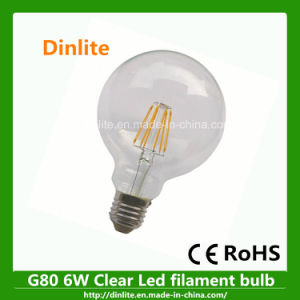 Ce RoHS G80 6W Clear LED Bulb pictures & photos
