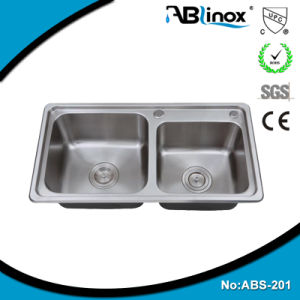 304 Stainless Steel Double Bowl Kitchen Sink ABS201 pictures & photos
