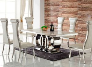 Elegant White Marble Dining Table with Chair for Home (SDT-011)