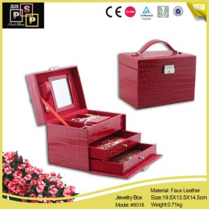 Custom Red Color PU Leather Drawer Jewelry Storage (8018) pictures & photos