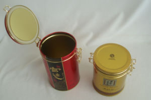Round Tea Tin with Hinge Lid pictures & photos