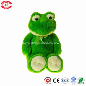 Plush Fluffy Green Frog Animal Sitting Soft Toy with Ribbon pictures & photos