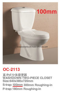 Pakistan 100mm S Trap Washdown Two Piece Toilet 2113 pictures & photos