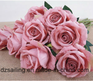 Single Stem Rose Artificial Wedding Flower Made of Fleece for Decoration (SW03332)
