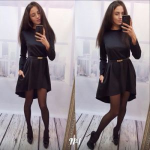 2016 Long Sleeve Pure Color Seam Detail Latest Design Women Fashion Tunic Dress pictures & photos