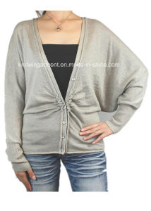 Ladies Knitted Long Sleeve Cardigan Sweater for Casual (12AW-145)