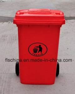 Eco-Friendly 100L Plastic Dustbin with Two Wheels pictures & photos