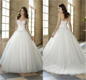 Simple Bridal Ball Gown Silver Beading Tulle Wedding Dress G1726 pictures & photos