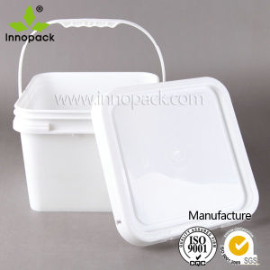 8L Square Plastic Pail with Plastic Lid and Handle Customized pictures & photos