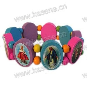Hot Sale Fashion Multicolour Religious Wooden Bracelet with Saint Pictures