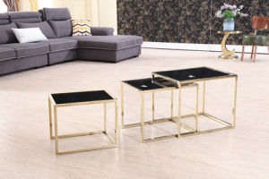 Modern Glossy Titanium+Marble Corner Table pictures & photos