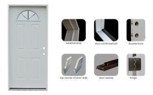 Half Moon Vault Glass Prehung Steel Door pictures & photos