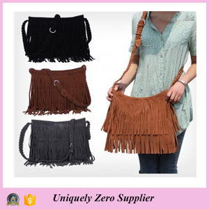 Fashion Women′s Suede Weave Tassel Shoulder Bag (54076) pictures & photos