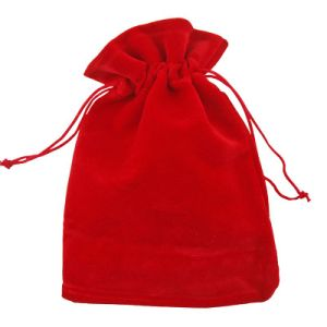 Red Flat Velvet Drawstring Gift Pouch Wholesale (CVB-1167) pictures & photos