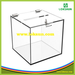 Black Acrylic Suggestion Name Card Collection Box Plexiglass Donation Box with Brochure Holder pictures & photos