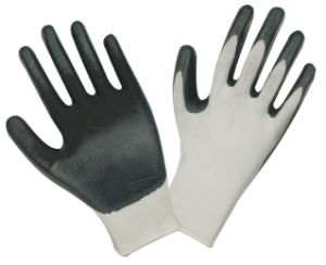 Black Nitrile Coated Safety Working Gloves  (STG-D004) pictures & photos
