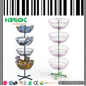 Supermarket /Store Metal Wire 4 Spinner Baskets Display Rack Stand pictures & photos