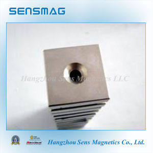 Powerful Permanent Block NdFeB Magnets with One Hole pictures & photos