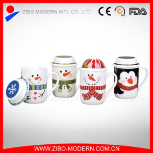 Colored Fine Porcelain Coffee Tea Ceramic Mug with Lid pictures & photos