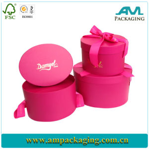 Shiny Pink Round Chocolate Paper Box with Ribbon pictures & photos