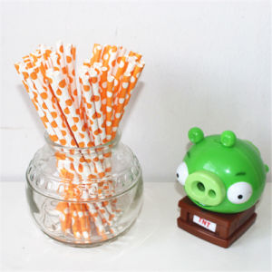 Disposable Orange DOT Flavored Paper Straw for Party pictures & photos