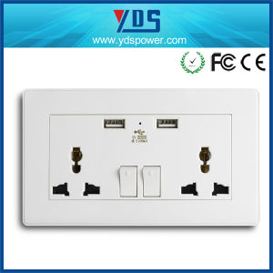 Universal Wall Switch Socket with 2 USB Ports Floor Socket pictures & photos