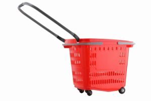 Plastic Supermarket Shopping Basket on Wheels pictures & photos