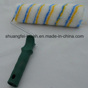 "9"" (230mm) Pile 12mm Yellow & Blue Stripe White Base Acrylic European Style Paint Roller with Plastic Handle pictures & photos"
