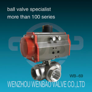 Pneumatic Actuated Three Way Stainless Steel Ball Valve pictures & photos