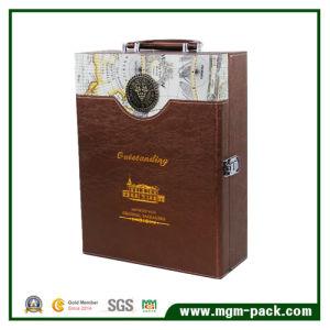Custom Design Leather Storage Wooden Wine Box pictures & photos