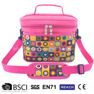 Red Polyester Women Lunch Cooler Bag Outdoor Picnic Bag