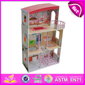 2014 New Cute Kids Wooden Doll House Toy, Popular Lovely Children Wooden Doll House, Fashion DIY Wooden Doll House Factory W06A081 pictures & photos