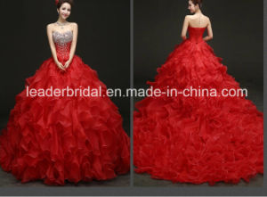 Cascading Bridal Prom Ball Gowns Stock Red Crystals Wedding Gown Wdo71 pictures & photos