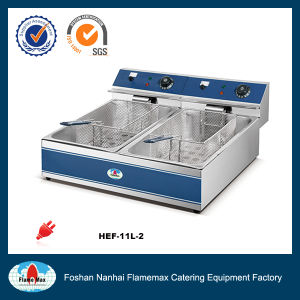 Stainless Steel Electric China Chip Fryer with 2-Tank 2-Basket (HEF-11L-2) pictures & photos