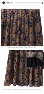 All-Match High Waist Printed Slim Middle Skirt with Pleated pictures & photos