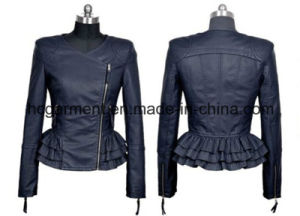 Fashion Punk PU Belt Jacket for Lady/Women, Leather Garment pictures & photos