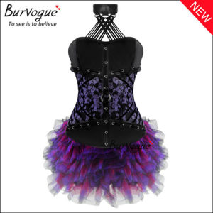 Noble Purple Floral Leather Overbust Corset Dress with Zip