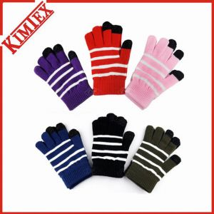 Acrylic Knitted Conductive Touch Screen Stripe Texting Glove pictures & photos
