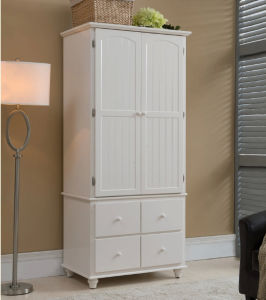 White Color European Style Wardrobe Made by Solid Wood (M-X1074) pictures & photos
