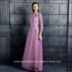 Lace Tulle Bridesmaid Dresses 3/4 Sleeve Appliques Women Bridesmaid Gowns pictures & photos