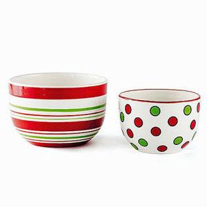 China Polka DOT and Stripe Hand Painted Ceramic Christmas ...