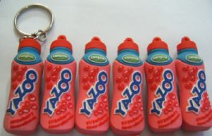 Drink Logo 3D Bottle Shape PVC Rubber Key Chain pictures & photos