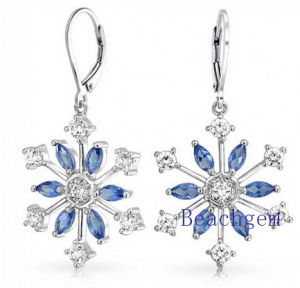 Nice Snow Flower Sterling Silver Earrings