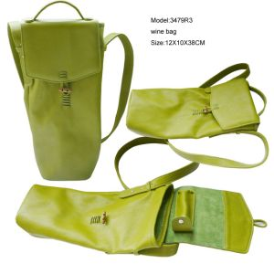 Vintage Green Faux Leather Gift Wine Tote Bag (3479R10) pictures & photos