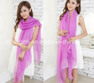 100% Polyester / High Twist Voile Fabric for Scarf pictures & photos