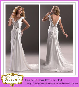 Elegant Ivory V Neck V Back Sweep Train Satin Simple Wedding Gown (MN1047) pictures & photos