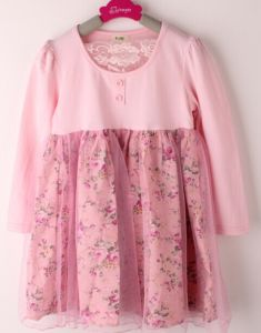 Two-Piece Floral Dress Stitching Net Kid′s Wear D21